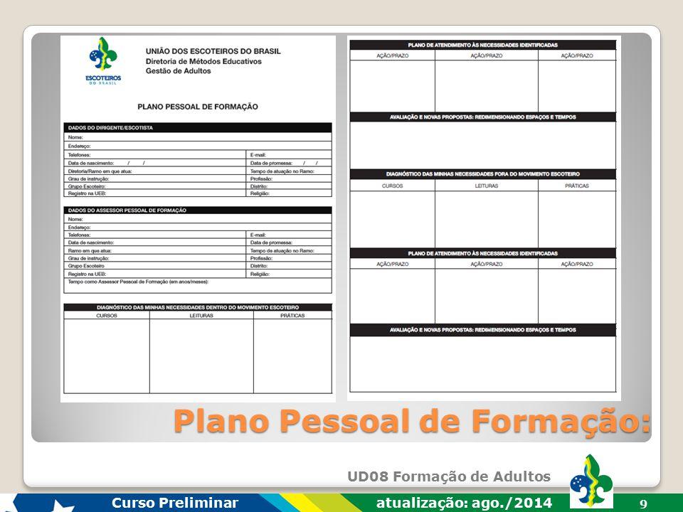 UD08 Formação de Adultos Curso Preliminar atualização: ago./2014 8 Plano Pessoal de Formação: O Plano Pessoal é um instrumento no qual cada adulto ord