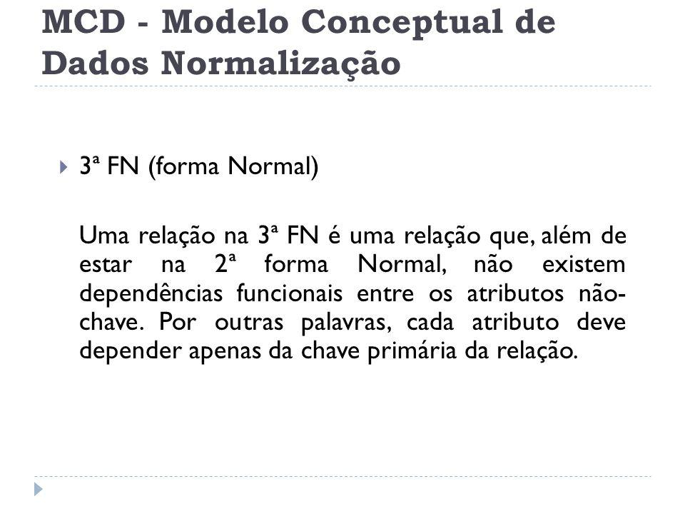  3ª FN (forma Normal) Uma relação na 3ª FN é uma relação que, além de estar na 2ª forma Normal, não existem dependências funcionais entre os atributo