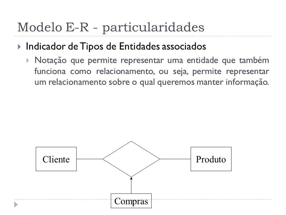 Modelo E-R - particularidades  Indicador de Tipos de Entidades associados  Notação que permite representar uma entidade que também funciona como rel