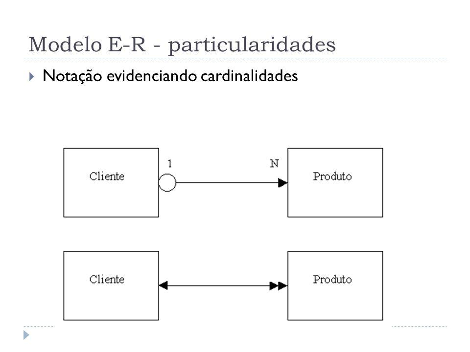 Modelo E-R - particularidades  Notação evidenciando cardinalidades