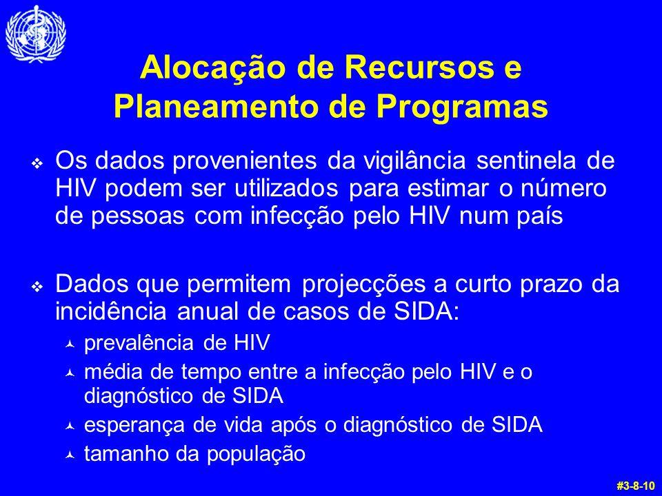Alocação de Recursos e Planeamento de Programas  Os dados provenientes da vigilância sentinela de HIV podem ser utilizados para estimar o número de pessoas com infecção pelo HIV num país  Dados que permitem projecções a curto prazo da incidência anual de casos de SIDA: © prevalência de HIV © média de tempo entre a infecção pelo HIV e o diagnóstico de SIDA © esperança de vida após o diagnóstico de SIDA © tamanho da população #3-8-10