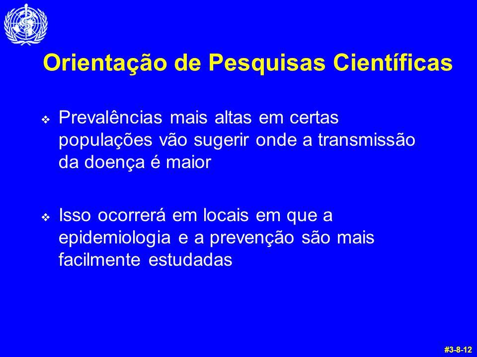 Orientação de Pesquisas Científicas  Prevalências mais altas em certas populações vão sugerir onde a transmissão da doença é maior  Isso ocorrerá em locais em que a epidemiologia e a prevenção são mais facilmente estudadas #3-8-12