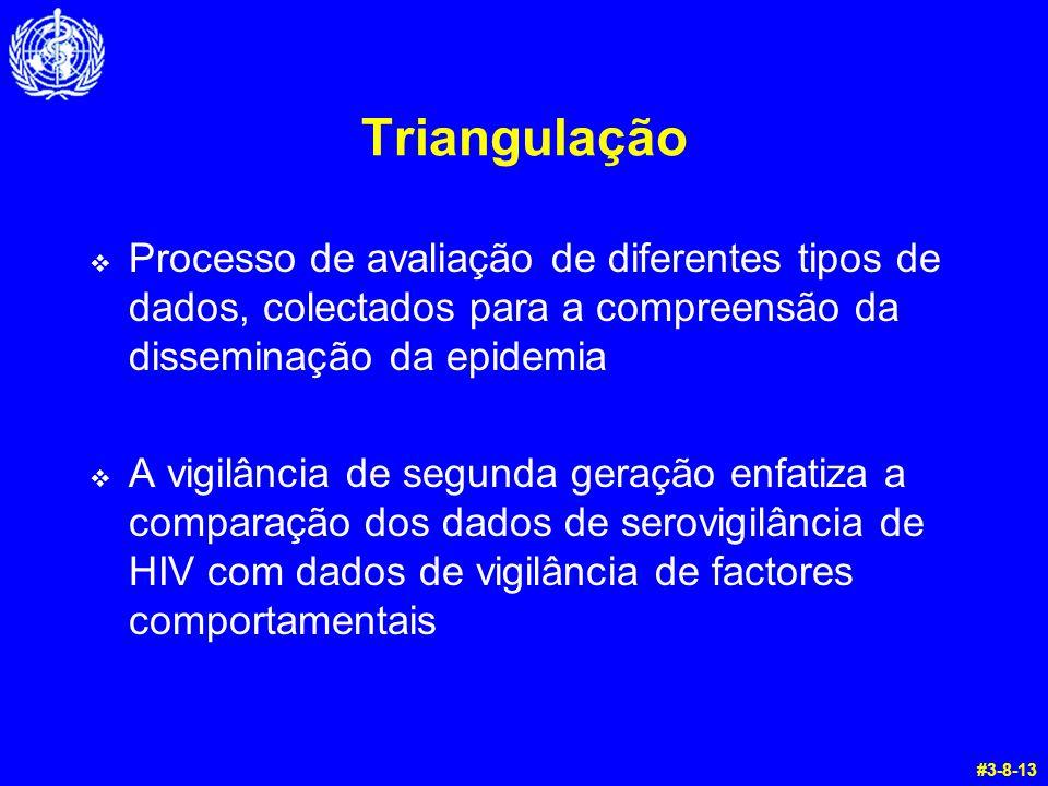 Triangulação  Processo de avaliação de diferentes tipos de dados, colectados para a compreensão da disseminação da epidemia  A vigilância de segunda
