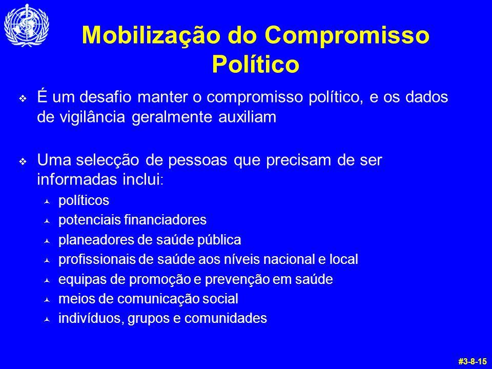 Mobilização do Compromisso Político  É um desafio manter o compromisso político, e os dados de vigilância geralmente auxiliam  Uma selecção de pesso