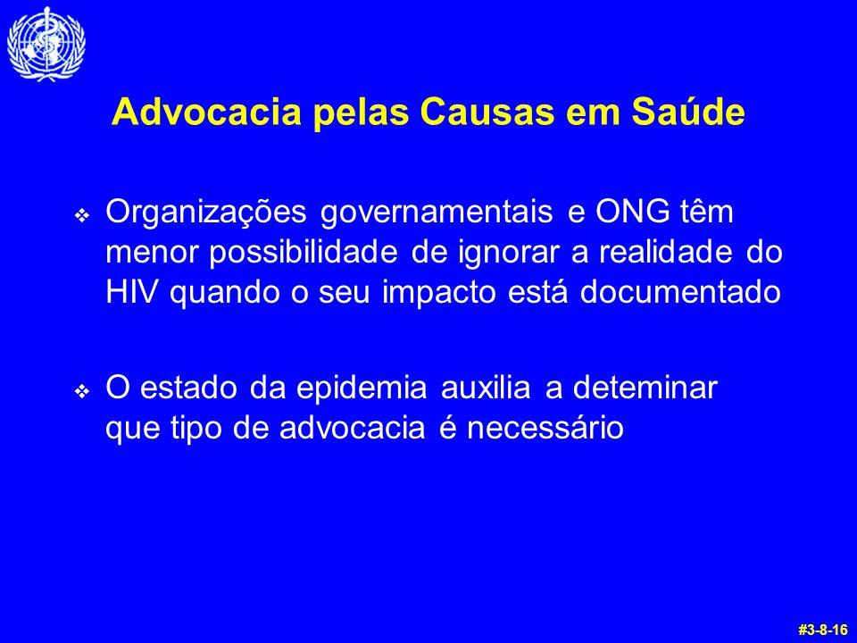 Advocacia pelas Causas em Saúde  Organizações governamentais e ONG têm menor possibilidade de ignorar a realidade do HIV quando o seu impacto está documentado  O estado da epidemia auxilia a deteminar que tipo de advocacia é necessário #3-8-16