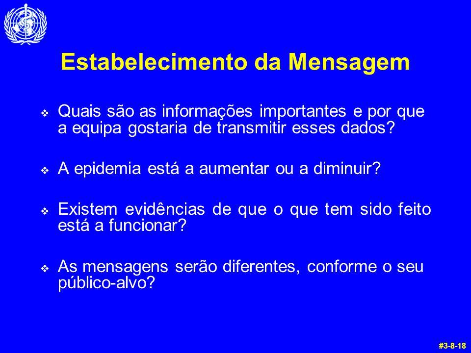 Estabelecimento da Mensagem  Quais são as informações importantes e por que a equipa gostaria de transmitir esses dados?  A epidemia está a aumentar