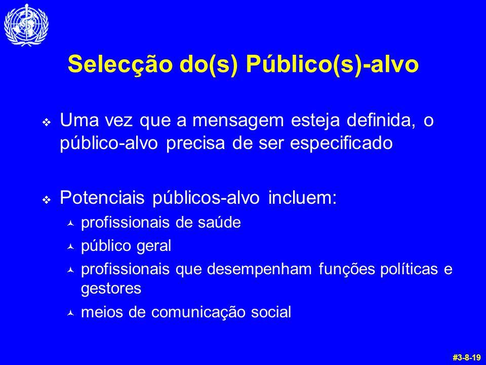 Selecção do(s) Público(s)-alvo  Uma vez que a mensagem esteja definida, o público-alvo precisa de ser especificado  Potenciais públicos-alvo incluem