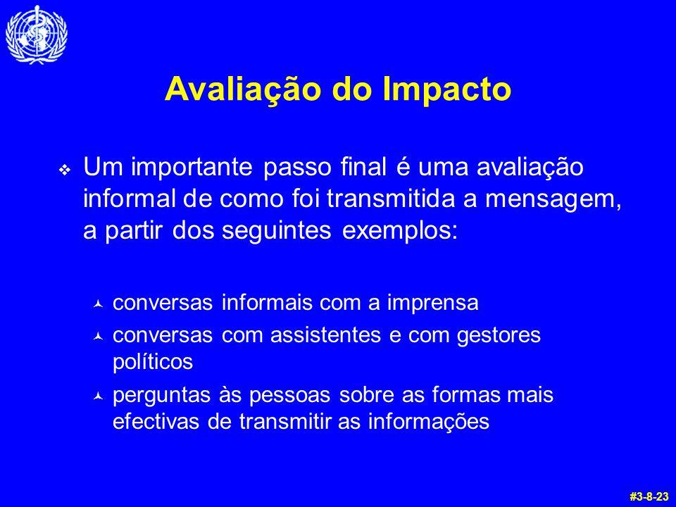 Avaliação do Impacto  Um importante passo final é uma avaliação informal de como foi transmitida a mensagem, a partir dos seguintes exemplos: © conve