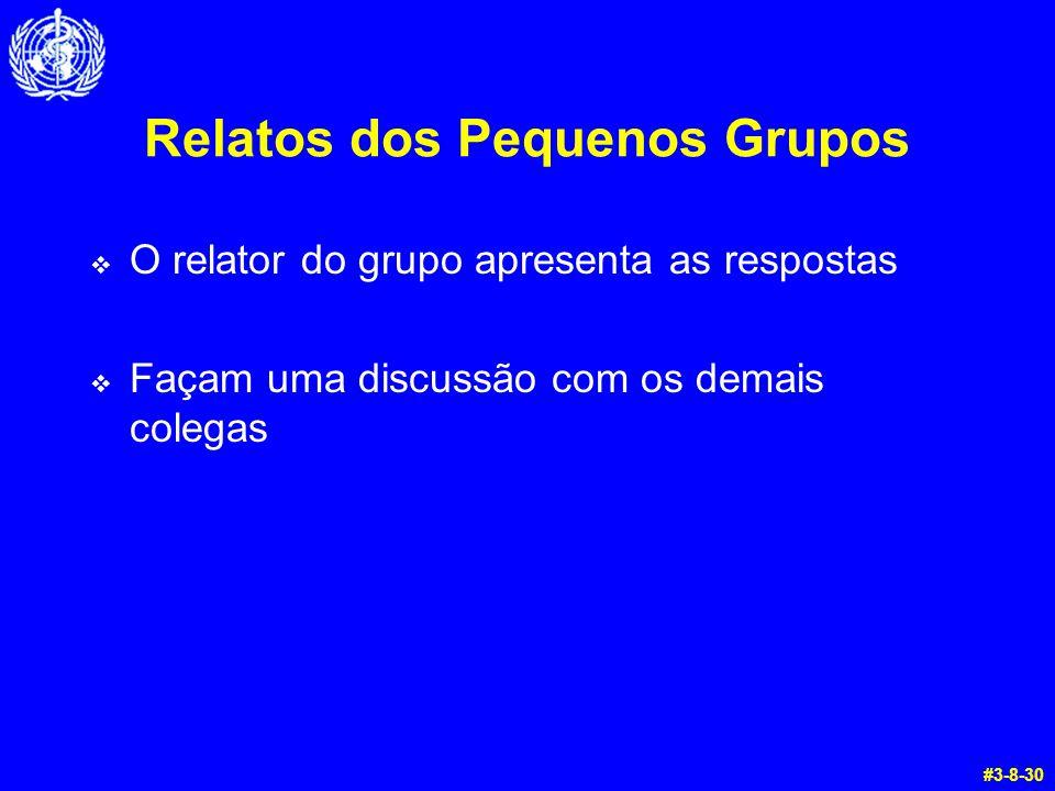 Relatos dos Pequenos Grupos  O relator do grupo apresenta as respostas  Façam uma discussão com os demais colegas #3-8-30