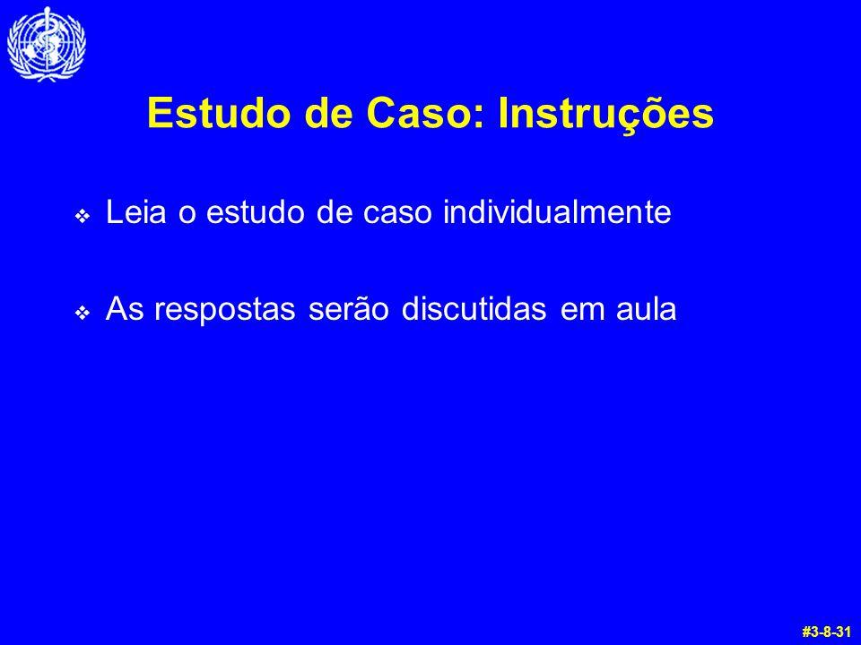 Estudo de Caso: Instruções  Leia o estudo de caso individualmente  As respostas serão discutidas em aula #3-8-31