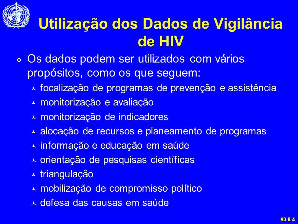 Utilização dos Dados de Vigilância de HIV  Os dados podem ser utilizados com vários propósitos, como os que seguem: © focalização de programas de pre