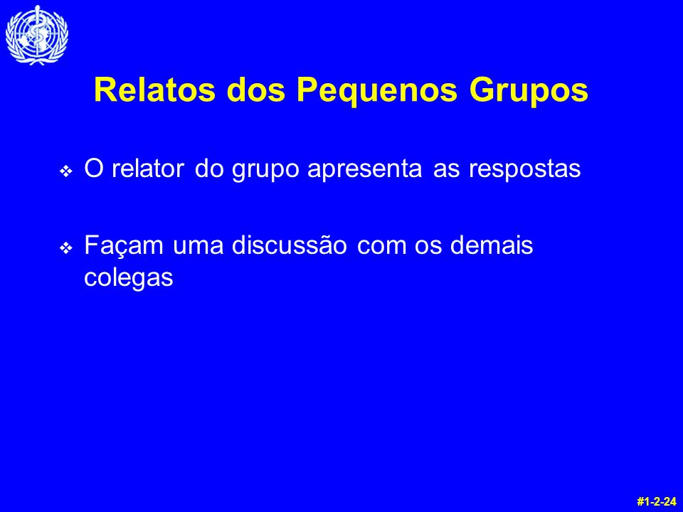 Relatos dos Pequenos Grupos v O relator do grupo apresenta as respostas v Façam uma discussão com os demais colegas #1-2-24