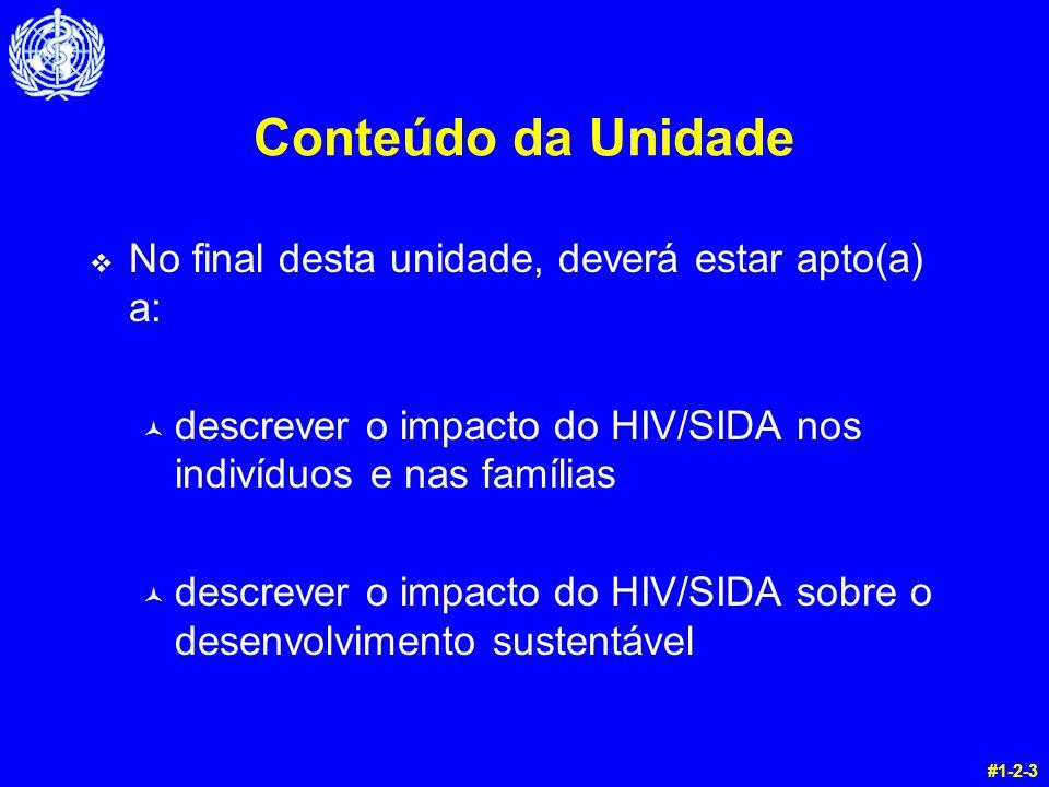 Conteúdo da Unidade v No final desta unidade, deverá estar apto(a) a: © descrever o impacto do HIV/SIDA nos indivíduos e nas famílias © descrever o im
