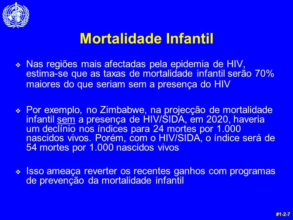 Mortalidade Infantil v Nas regiões mais afectadas pela epidemia de HIV, estima-se que as taxas de mortalidade infantil serão 70% maiores do que seriam