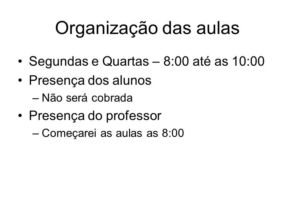 Organização das aulas Segundas e Quartas – 8:00 até as 10:00 Presença dos alunos –Não será cobrada Presença do professor –Começarei as aulas as 8:00