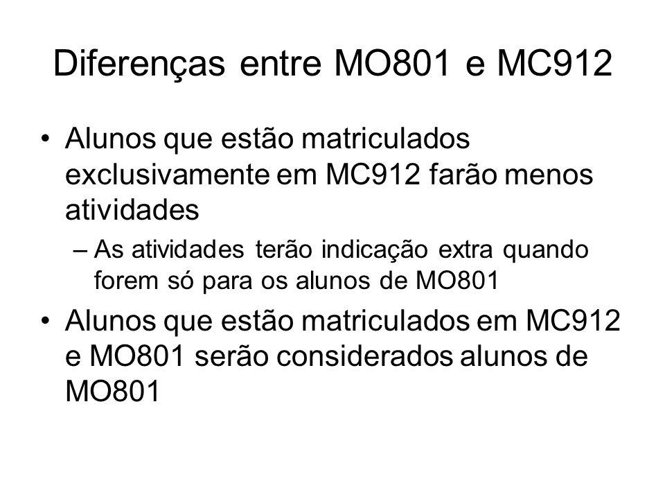 Diferenças entre MO801 e MC912 Alunos que estão matriculados exclusivamente em MC912 farão menos atividades –As atividades terão indicação extra quand