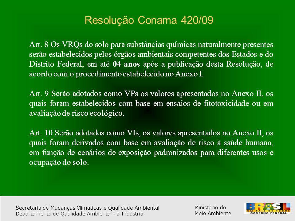 Secretaria de Mudanças Climáticas e Qualidade Ambiental Departamento de Qualidade Ambiental na Indústria Ministério do Meio Ambiente Resolução Conama 420/09 Art.