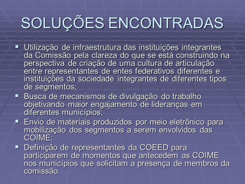SOLUÇÕES ENCONTRADAS  Utilização de infraestrutura das instituições integrantes da Comissão pela clareza do que se está construindo na perspectiva de