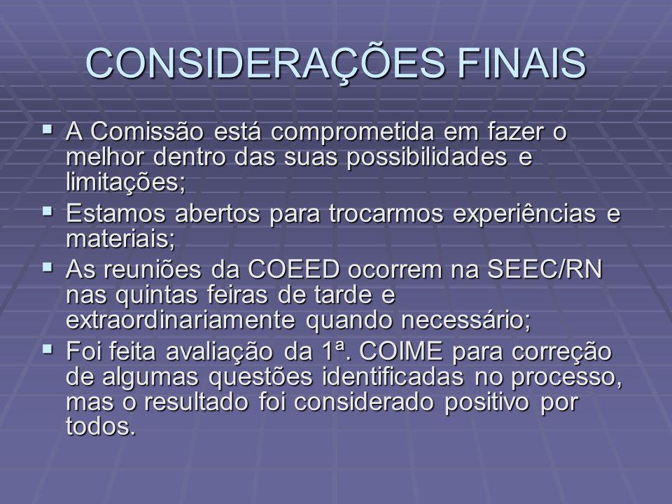 CONSIDERAÇÕES FINAIS  A Comissão está comprometida em fazer o melhor dentro das suas possibilidades e limitações;  Estamos abertos para trocarmos ex
