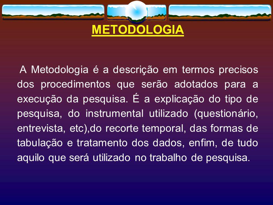 METODOLOGIA A Metodologia é a descrição em termos precisos dos procedimentos que serão adotados para a execução da pesquisa.