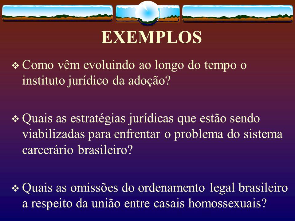 EXEMPLOS  Como vêm evoluindo ao longo do tempo o instituto jurídico da adoção.