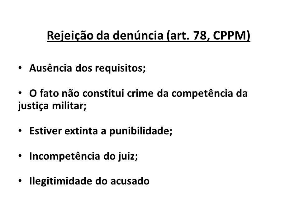 Rejeição da denúncia (art. 78, CPPM) Ausência dos requisitos; O fato não constitui crime da competência da justiça militar; Estiver extinta a punibili