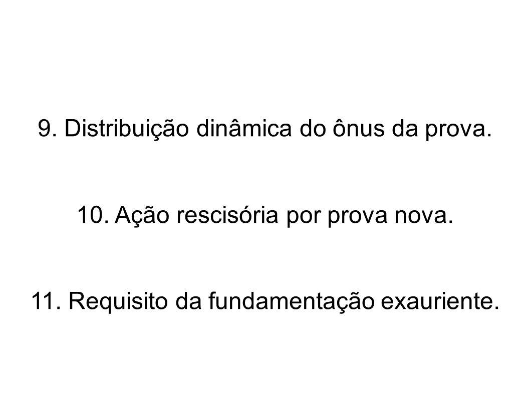 9. Distribuição dinâmica do ônus da prova. 10. Ação rescisória por prova nova. 11. Requisito da fundamentação exauriente.