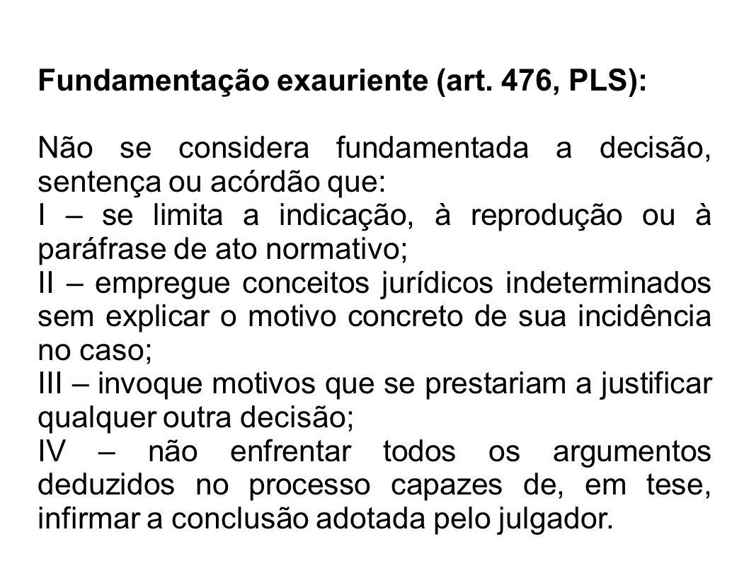 Fundamentação exauriente (art. 476, PLS): Não se considera fundamentada a decisão, sentença ou acórdão que: I – se limita a indicação, à reprodução ou