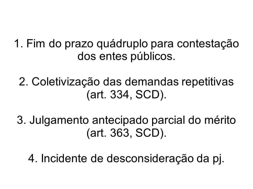 1. Fim do prazo quádruplo para contestação dos entes públicos. 2. Coletivização das demandas repetitivas (art. 334, SCD). 3. Julgamento antecipado par