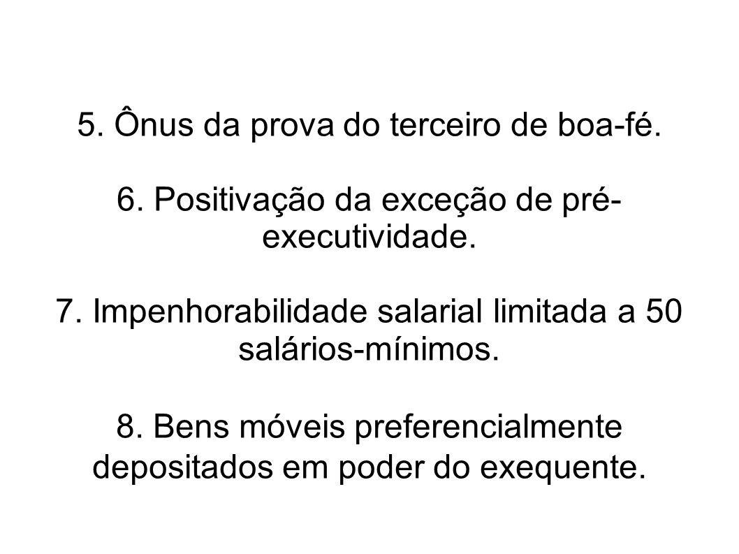 5.Ônus da prova do terceiro de boa-fé. 6. Positivação da exceção de pré- executividade.