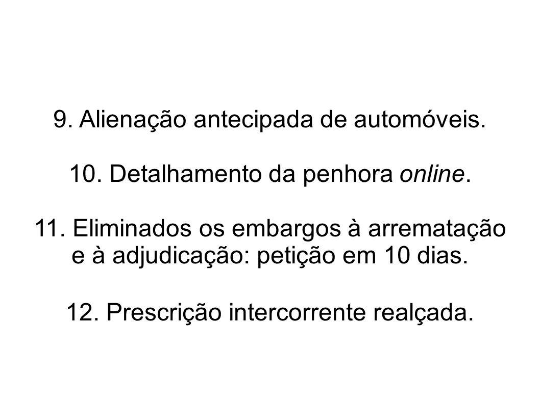 9.Alienação antecipada de automóveis. 10. Detalhamento da penhora online.