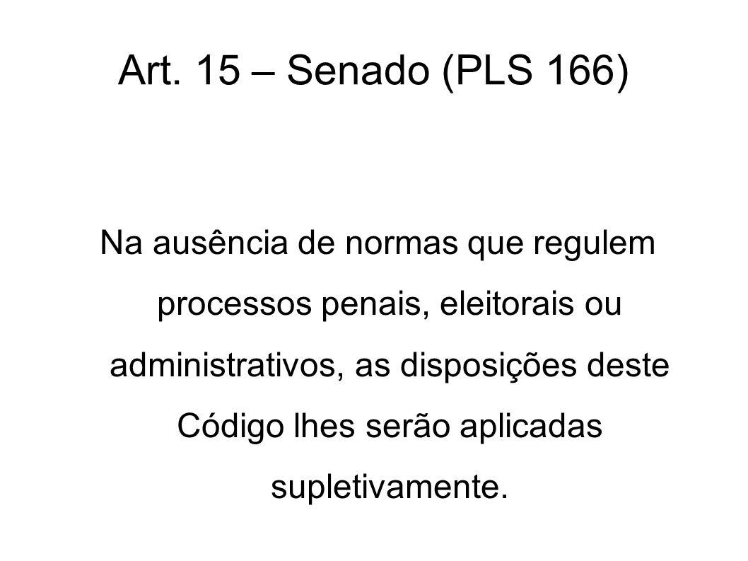 Art. 15 – Senado (PLS 166) Na ausência de normas que regulem processos penais, eleitorais ou administrativos, as disposições deste Código lhes serão a