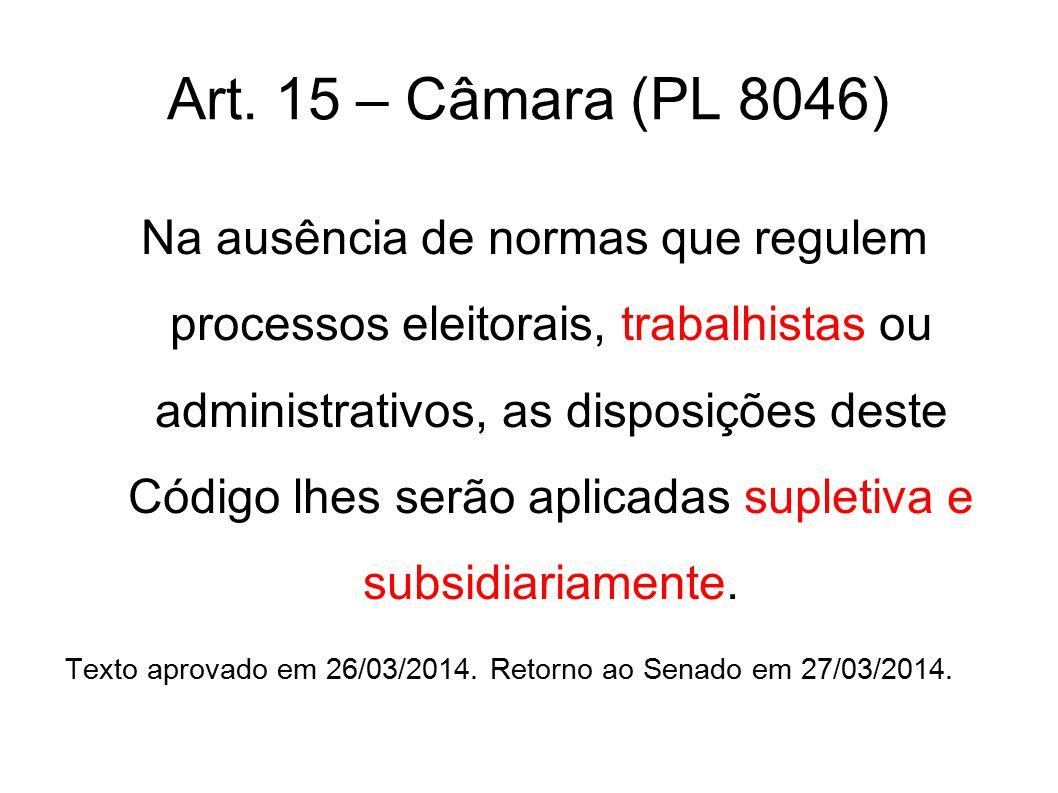 Art. 15 – Câmara (PL 8046) Na ausência de normas que regulem processos eleitorais, trabalhistas ou administrativos, as disposições deste Código lhes s