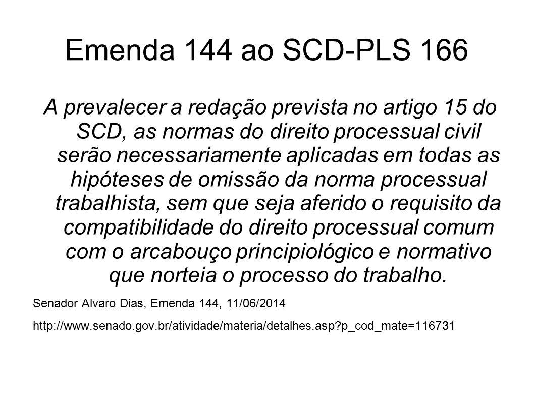 Emenda 144 ao SCD-PLS 166 A prevalecer a redação prevista no artigo 15 do SCD, as normas do direito processual civil serão necessariamente aplicadas e