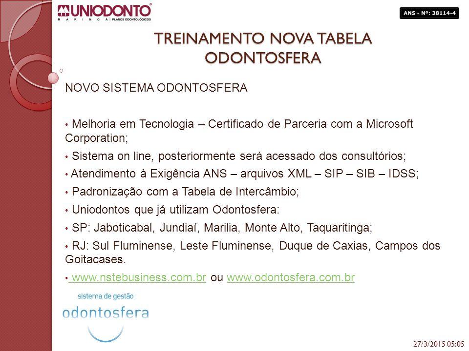 TREINAMENTO NOVA TABELA ODONTOSFERA NOVO SISTEMA ODONTOSFERA Melhoria em Tecnologia – Certificado de Parceria com a Microsoft Corporation; Sistema on