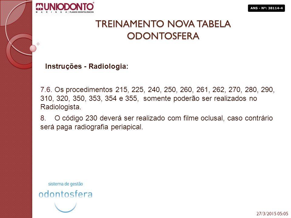 TREINAMENTO NOVA TABELA ODONTOSFERA Instruções - Radiologia: 7.6. Os procedimentos 215, 225, 240, 250, 260, 261, 262, 270, 280, 290, 310, 320, 350, 35