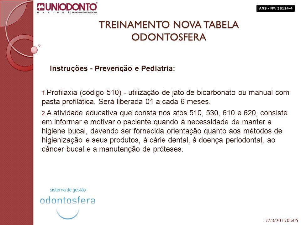TREINAMENTO NOVA TABELA ODONTOSFERA Instruções - Prevenção e Pediatria: 1. Profilaxia (código 510) - utilização de jato de bicarbonato ou manual com p