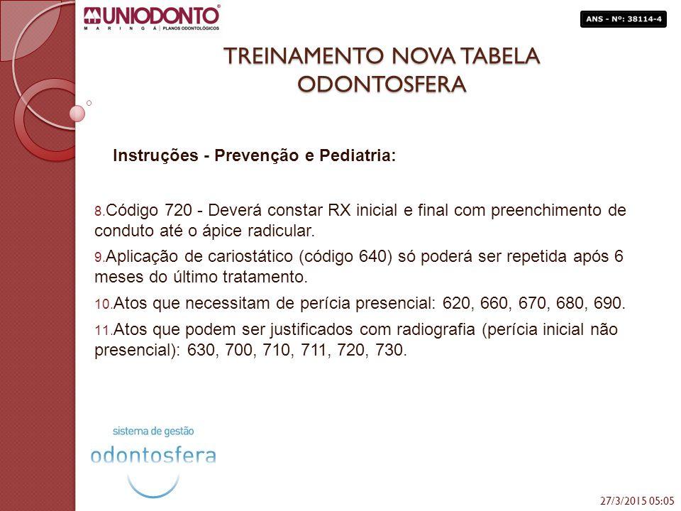 TREINAMENTO NOVA TABELA ODONTOSFERA Instruções - Prevenção e Pediatria: 8. Código 720 - Deverá constar RX inicial e final com preenchimento de conduto
