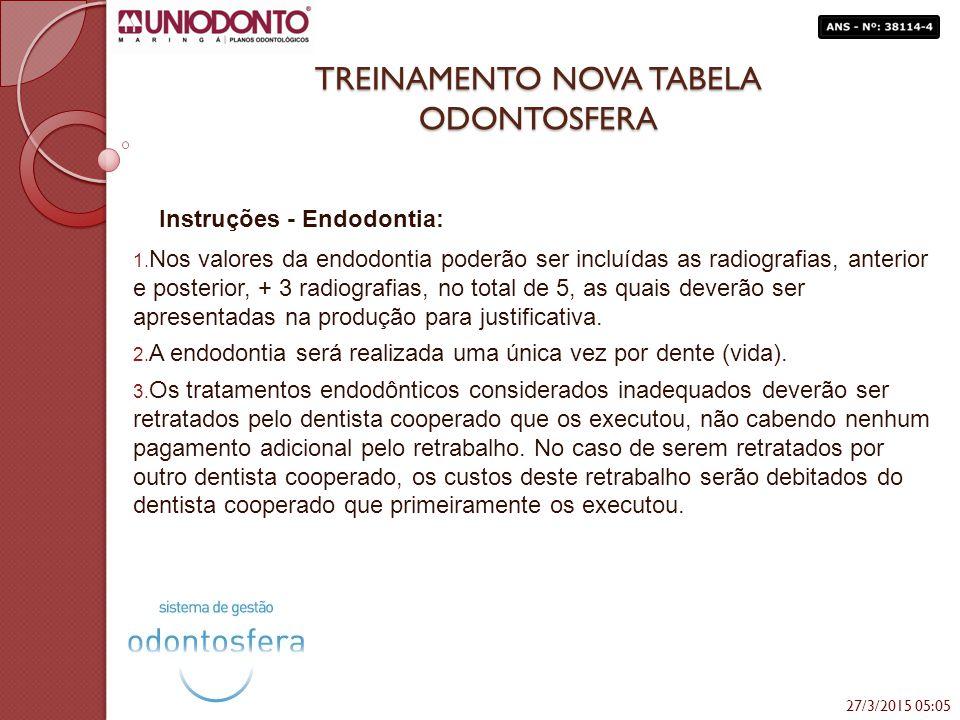 TREINAMENTO NOVA TABELA ODONTOSFERA Instruções - Endodontia: 1. Nos valores da endodontia poderão ser incluídas as radiografias, anterior e posterior,