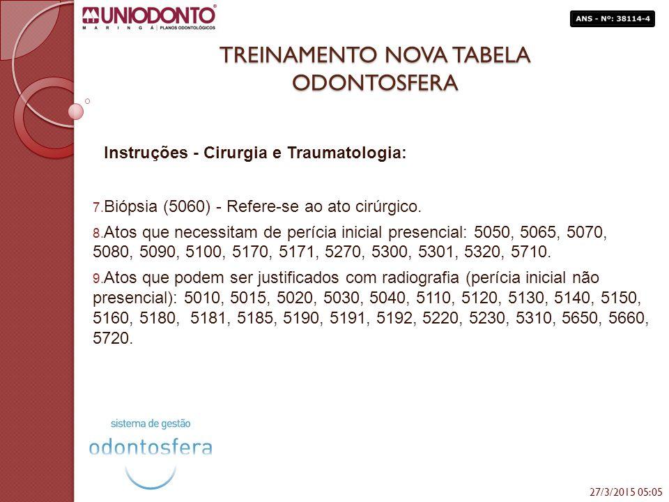 TREINAMENTO NOVA TABELA ODONTOSFERA Instruções - Cirurgia e Traumatologia: 7. Biópsia (5060) - Refere-se ao ato cirúrgico. 8. Atos que necessitam de p