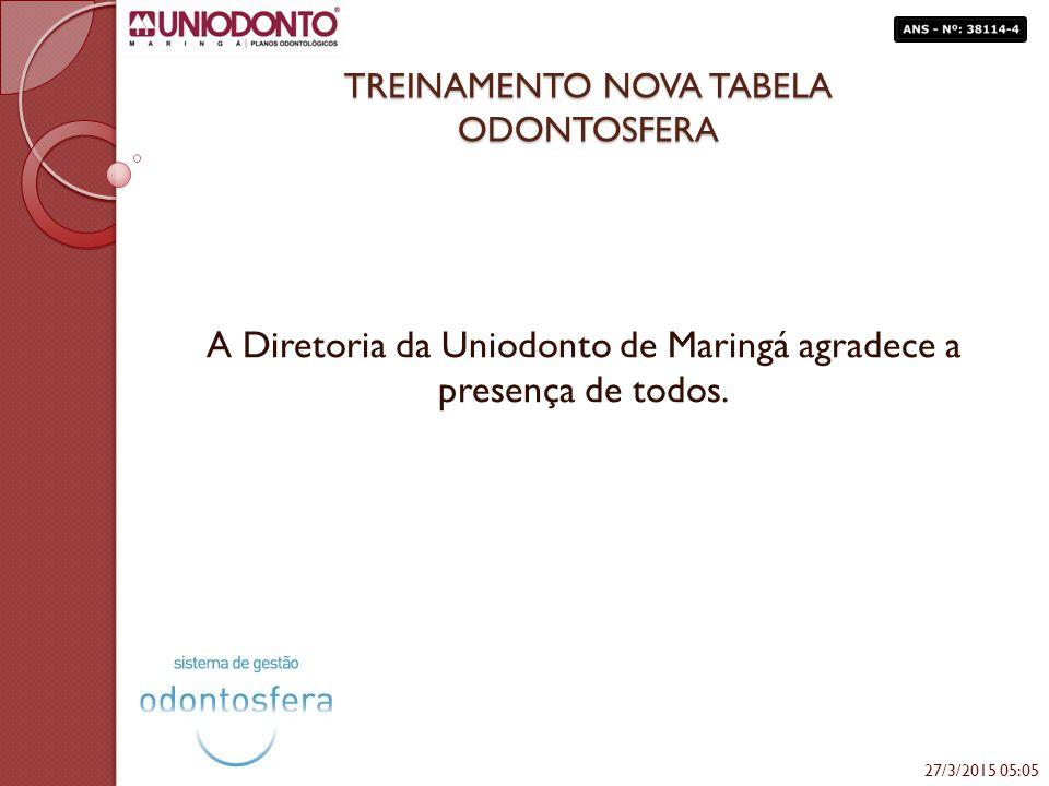 TREINAMENTO NOVA TABELA ODONTOSFERA A Diretoria da Uniodonto de Maringá agradece a presença de todos. 27/3/2015 05:06