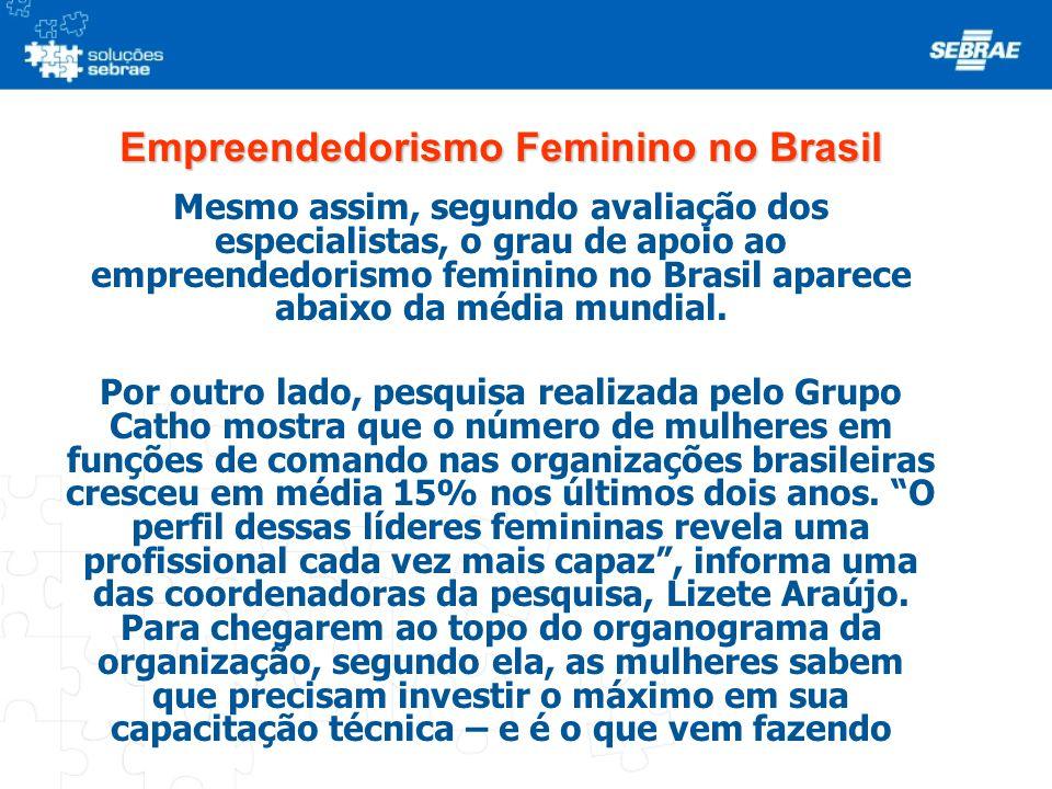 Empreendedorismo Feminino no Brasil Mesmo assim, segundo avaliação dos especialistas, o grau de apoio ao empreendedorismo feminino no Brasil aparece a