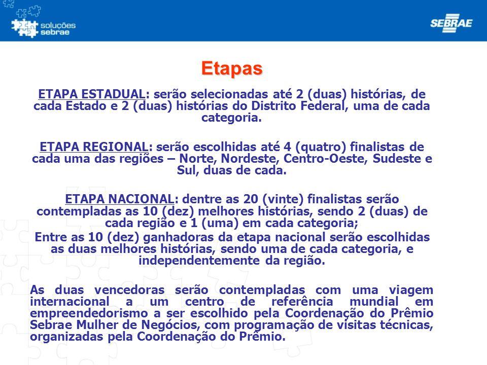 Etapas ETAPA ESTADUAL: serão selecionadas até 2 (duas) histórias, de cada Estado e 2 (duas) histórias do Distrito Federal, uma de cada categoria. ETAP