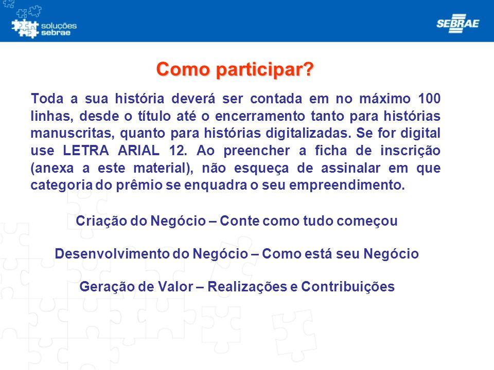 Premiação ETAPA ESTADUAL: Cursos do SEBRAE, a escolha da ganhadora ETAPA REGIONAL: Participação da programação do evento de entrega do Prêmio.