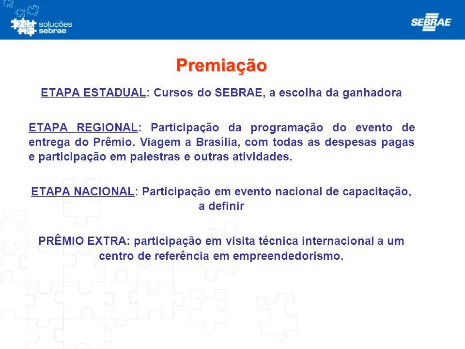 Premiação ETAPA ESTADUAL: Cursos do SEBRAE, a escolha da ganhadora ETAPA REGIONAL: Participação da programação do evento de entrega do Prêmio. Viagem