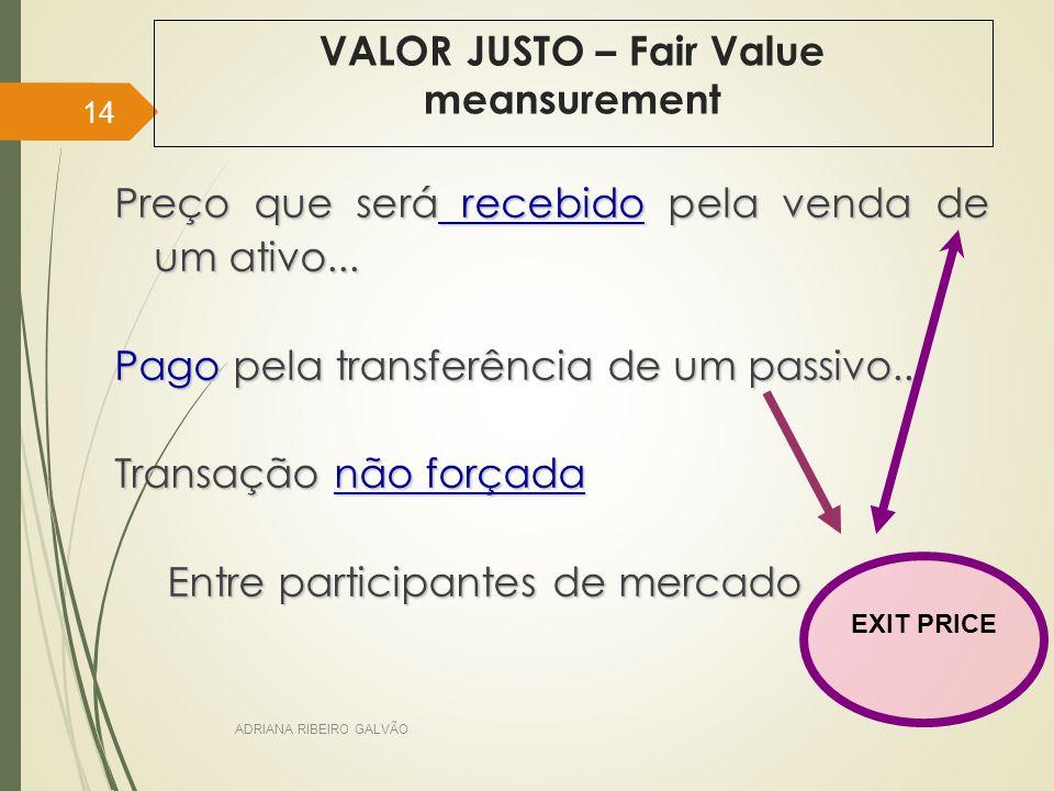 VALOR JUSTO – Fair Value meansurement Preço que será recebido pela venda de um ativo...
