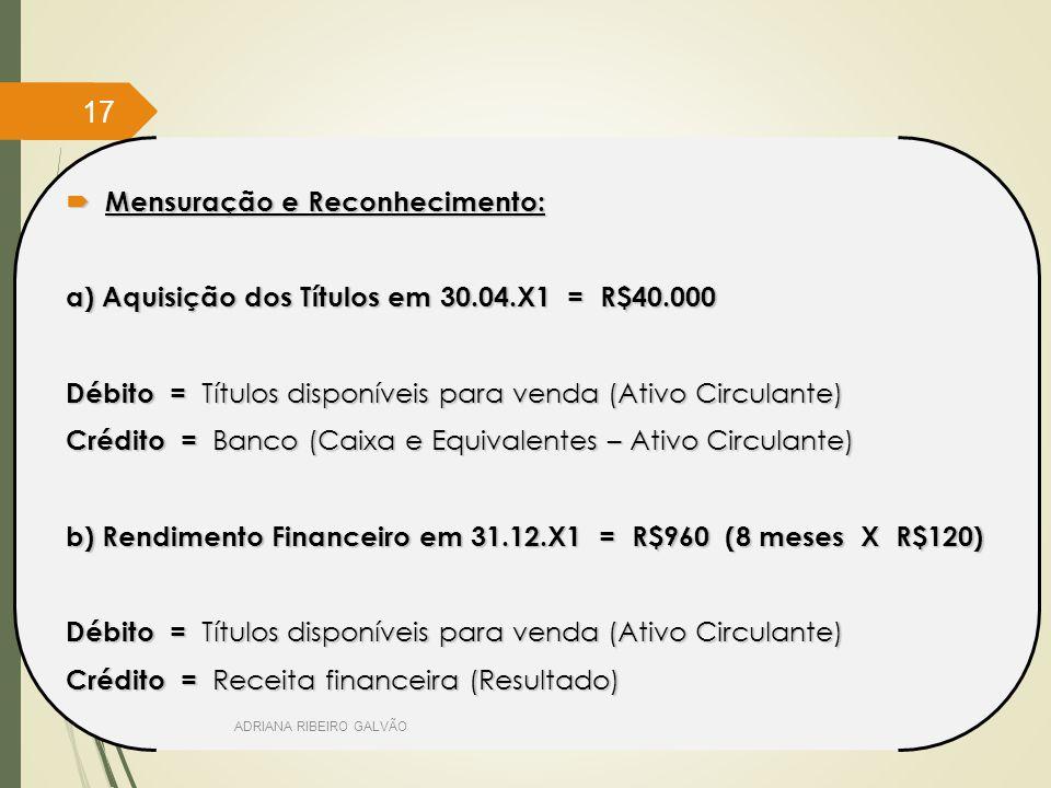  Mensuração e Reconhecimento: a) Aquisição dos Títulos em 30.04.X1 = R$40.000 Débito = Títulos disponíveis para venda (Ativo Circulante) Crédito = Banco (Caixa e Equivalentes – Ativo Circulante) b) Rendimento Financeiro em 31.12.X1 = R$960 (8 meses X R$120) Débito = Títulos disponíveis para venda (Ativo Circulante) Crédito = Receita financeira (Resultado) ADRIANA RIBEIRO GALVÃO 17