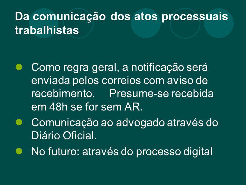 Da comunicação dos atos processuais trabalhistas Como regra geral, a notificação será enviada pelos correios com aviso de recebimento. Presume-se rece