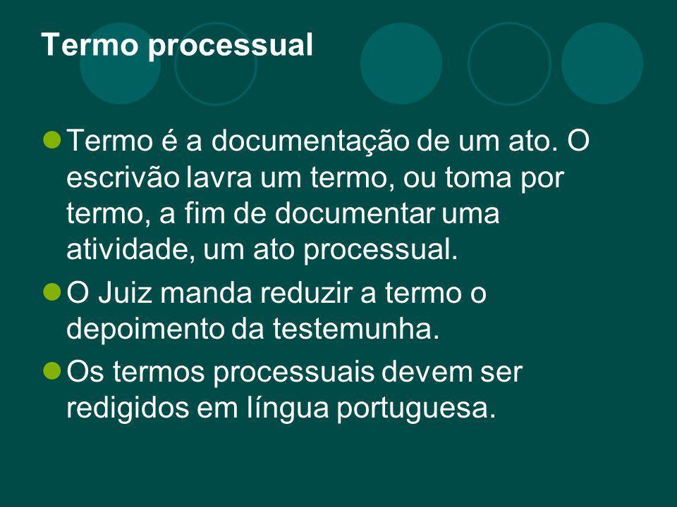 Termo processual Termo é a documentação de um ato. O escrivão lavra um termo, ou toma por termo, a fim de documentar uma atividade, um ato processual.