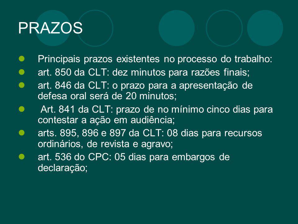 PRAZOS Principais prazos existentes no processo do trabalho: art. 850 da CLT: dez minutos para razões finais; art. 846 da CLT: o prazo para a apresent
